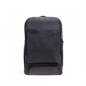 A E P Alpha *Sleek* Leather Business Lederrucksack mit Laptopfach Charcoal Black