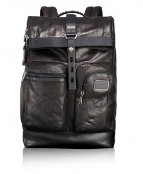 Tumi Alpha Bravo Leather Luke Roll-Top Rucksack black