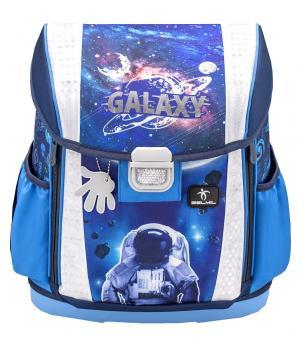 Belmil 'Customize-Me' Schulranzen Set 4-teilig *Leucht-Elemente* Astronaut in Galaxy