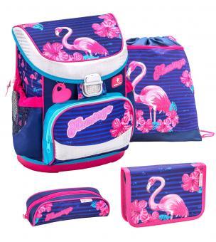 Belmil 'Mini-Fit' Schulranzen Set 4-teilig *Glitzer Edition* Flamingo