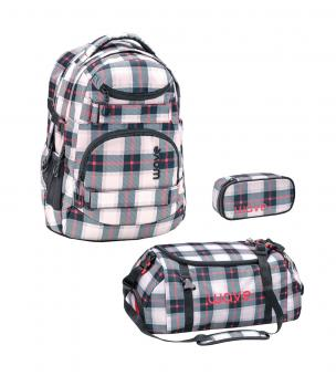 Belmil 'Wave Infinity' Schulrucksack Set 3-teilig 2020 Grey Red Pattern