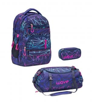 Belmil 'Wave Infinity' Schulrucksack Set 3-teilig 2020 Stripes Purple