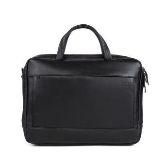 A E P Delta Classic Leather Special Leather Work Bag mit Laptopfach Pitch Black