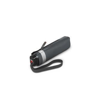 Knirps TS.010 Slim Small Manual Flacher Taschenschirm mit Glitterprint Solid Asphalt