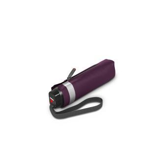 Knirps TS.010 Slim Small Manual Flacher Taschenschirm mit Glitterprint Solid Purple