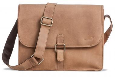 """Packenger Aslang XL Umhängetasche Messenger Bag 15"""" Hellbraun"""