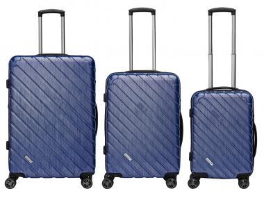 Packenger Vertical Premium Koffer 3er-Set M, L + XL Blau Metallic
