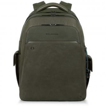 "Piquadro Black Square Laptoprucksack 15"" mit CONNEQU grün"