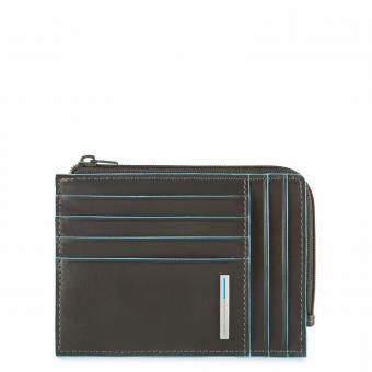 Piquadro Blue Square Börse mit Hartgeldfach, Dokumentenfach und Kreditkartensteckfächern mit RFID-Schutz Grau