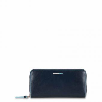 Piquadro Blue Square Damengeldbörse mit Reißverschluss, Münz- und Kreditkartenfach Blau