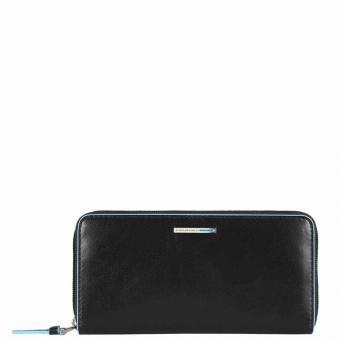 Piquadro Blue Square Damengeldbörse mit Reißverschluss, Münz- und Kreditkartenfach schwarz