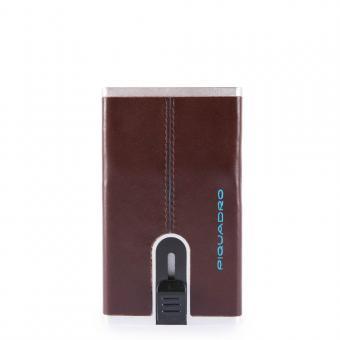 Piquadro Blue Square Kreditkartenetui mit Schiebesystem mahagonibraun
