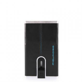 Piquadro Blue Square Kreditkartenetui mit Schiebesystem schwarz