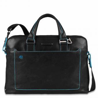 Piquadro Blue Square Kurzgriff-Laptoptasche mit iPad®Air/Air2-Fach, Schirm- und Flaschentasche Schwarz
