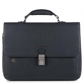 """Piquadro Black Square Laptoptasche 15"""" erweiterbar mit Überschlag und CONNEQU-Anhänger nachtblau"""