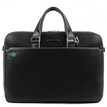 Piquadro Blue Square Laptoptasche mit zwei Fächern und Laptopfach schwarz