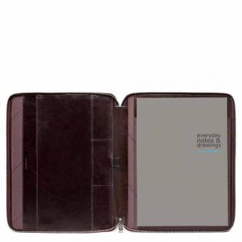 Piquadro Blue Square Schmale Schreibmappe aus Leder im A4-Format mit Reißverschluss und Stiftschlaufe Mahagoni