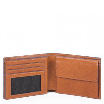 Piquadro Blue Square Special Herrenbrieftasche mit Münzfach, Kreditkarten cuoio
