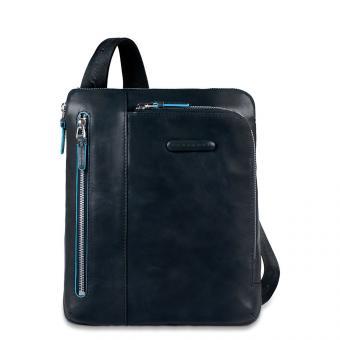 Piquadro Blue Square Umhängetasche mit doppelter Vortasche Blau