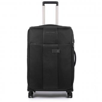 Piquadro Brief Trolley M 4w erweiterbar mit herausnehmbarer Kleiderhülle und CONNEQU-Tasche black
