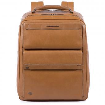 Piquadro Cube Großer Fast Check Laptoprucksack mit iPad®10,5''/15,6 Zoll-Fach lohfarben