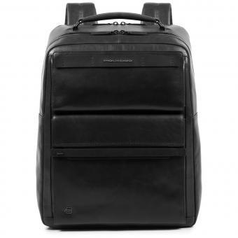 Piquadro Cube Großer Fast Check Laptoprucksack mit iPad®10,5''/15,6 Zoll-Fach schwarz