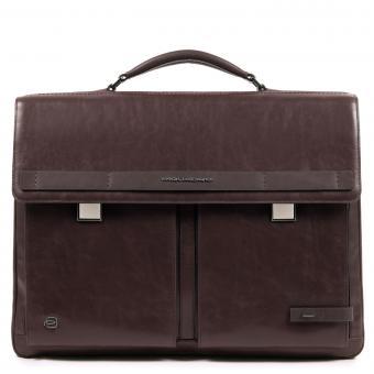 Piquadro Cube Laptoptasche mit zwei Verschlüssen und iPad®10,5''/15,6 Zoll-Fach dunkelbraun