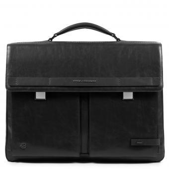 Piquadro Cube Laptoptasche mit zwei Verschlüssen und iPad®10,5''/15,6 Zoll-Fach schwarz