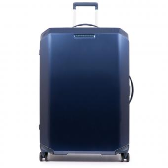 Piquadro Cubica Trolley L 4w mit Anti-Schock-Rollen und CONNEQU-Tasche Blue