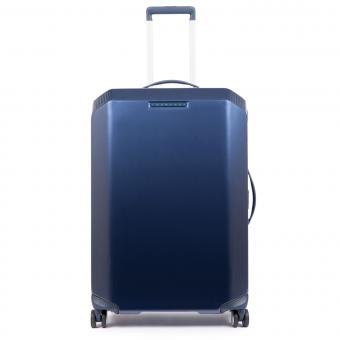 Piquadro Cubica Trolley M 4w mit Anti-Schock-Rollen und CONNEQU-Tasche Blue