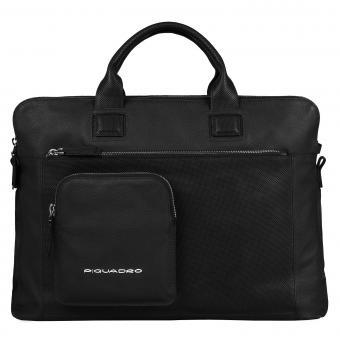 Piquadro Laszlo Doppelgriff-Laptoptasche mit drei Einsteckfächern black