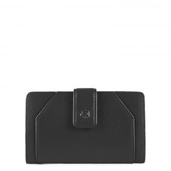 Piquadro Muse Damenbörse mit Hartgeldfach und RFID-Schutz schwarz