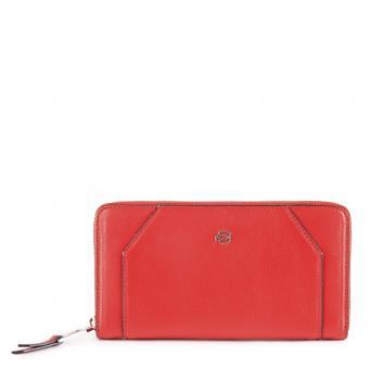 Piquadro Muse Damenbörse mit Reißverschluss, Hartgeldfach und RFID-Schutz rot