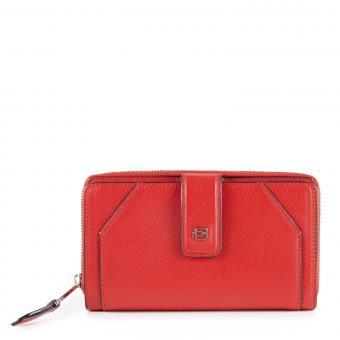 Piquadro Muse Damenbörse mit Hartgeldfach und RFID-Schutz rot