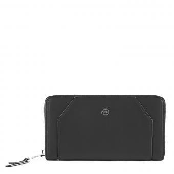 Piquadro Muse Damenbörse mit Reißverschluss, Hartgeldfach und RFID-Schutz schwarz