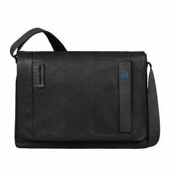 Piquadro Pulse Laptopkuriertasche mit Überschlag und Tablet-Fach black