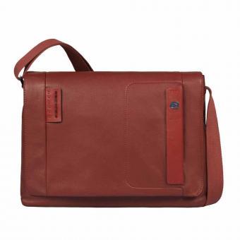 Piquadro Pulse Laptopkuriertasche mit Überschlag und Tablet-Fach brick red