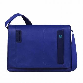 Piquadro Pulse Laptopkuriertasche mit Überschlag und Tablet-Fach electric blue