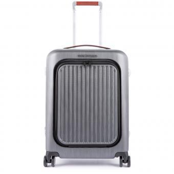 """Piquadro Relyght Plus Hartschalentrolley Cabin 4R mit Laptopfach 15.6"""" und CONNEQU schwarz/tabak"""