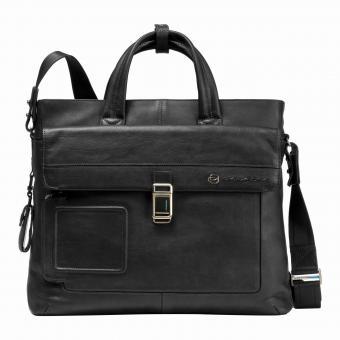 Piquadro Vibe Laptoptasche mit zwei Griffen und Vordertasche black