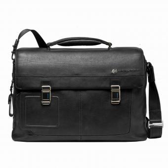 """Piquadro Vibe Laptoptasche 15"""" mit Tabletfach mit zwei Verschlüssen black"""