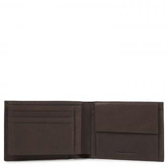 Piquadro Black Square Herrengeldbörse mit Ausweisfenster, Münz- und Kreditkartenfach + RIFD Dunkelbraun