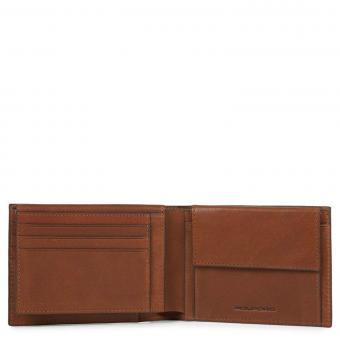 Piquadro Black Square Herrengeldbörse mit Ausweisfenster, Münz- und Kreditkartenfach + RIFD Hellbraun