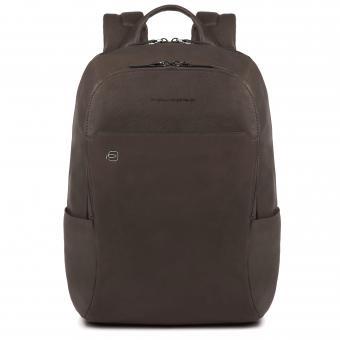 """Piquadro Black Square Laptop-Rucksack 14"""" mit Tabletfach, Regenschirmtasche/Flaschenhalter und CONNEQU dunkelbraun"""