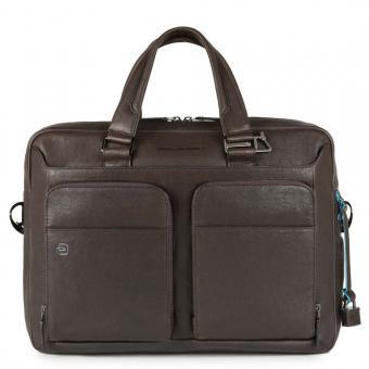 """Piquadro Black Square Kurzgrifflaptoptasche 15"""" mit Tabletfach und CONNEQU-Anhänger dunkelbraun"""