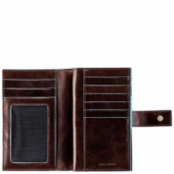Piquadro Blue Square Damenbörse mit Hartgeldfach und Kreditkartensteckfächern mahogany