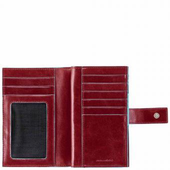 Piquadro Blue Square Damenbörse mit Hartgeldfach und Kreditkartensteckfächern Rot