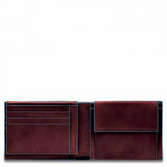 Piquadro Blue Square Herrenbrieftasche mit Klapp-Ausweisfenster + RFID Mahagoni