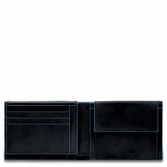 Piquadro Blue Square Herrenbrieftasche mit Klapp-Ausweisfenster + RFID Schwarz