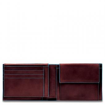 Piquadro Blue Square Herrenbrieftasche mit Portemonnaie, Kreditkartensteckfächern und Dokumentenfach Mahagoni